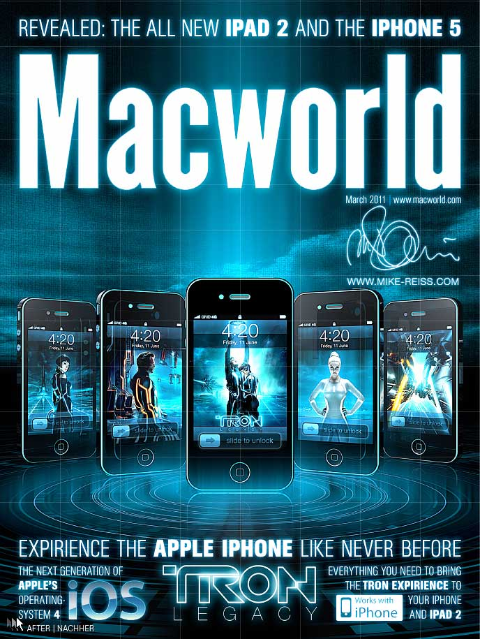 Apple iPhone im TRON Look auf dem Cover des Macworld Magazins