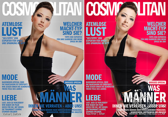 Cosmopolitan Titel Retusche eines Topmodels in Photoshop